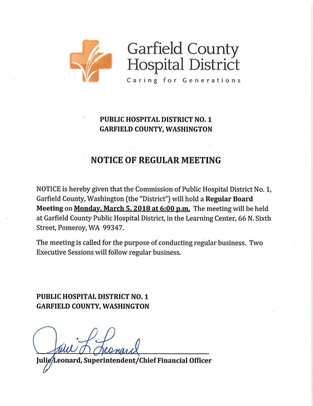 Category: Meeting Notice - GARFIELD COUNTY HOSPITAL DISTRICT